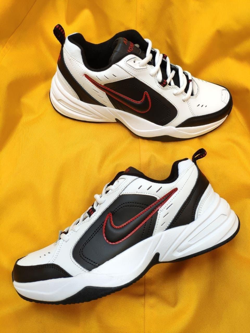 Мужские кроссовки Nike Air Monarch (бело-черно-красные) D88 молодежная обувь на каждый день