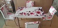 """Розкладний стіл обідній кухонний комплект стіл і стільці 3D малюнок 3д """"Рожева квітка"""" ДСП скло 70*110 Mobilgen 1301, фото 1"""