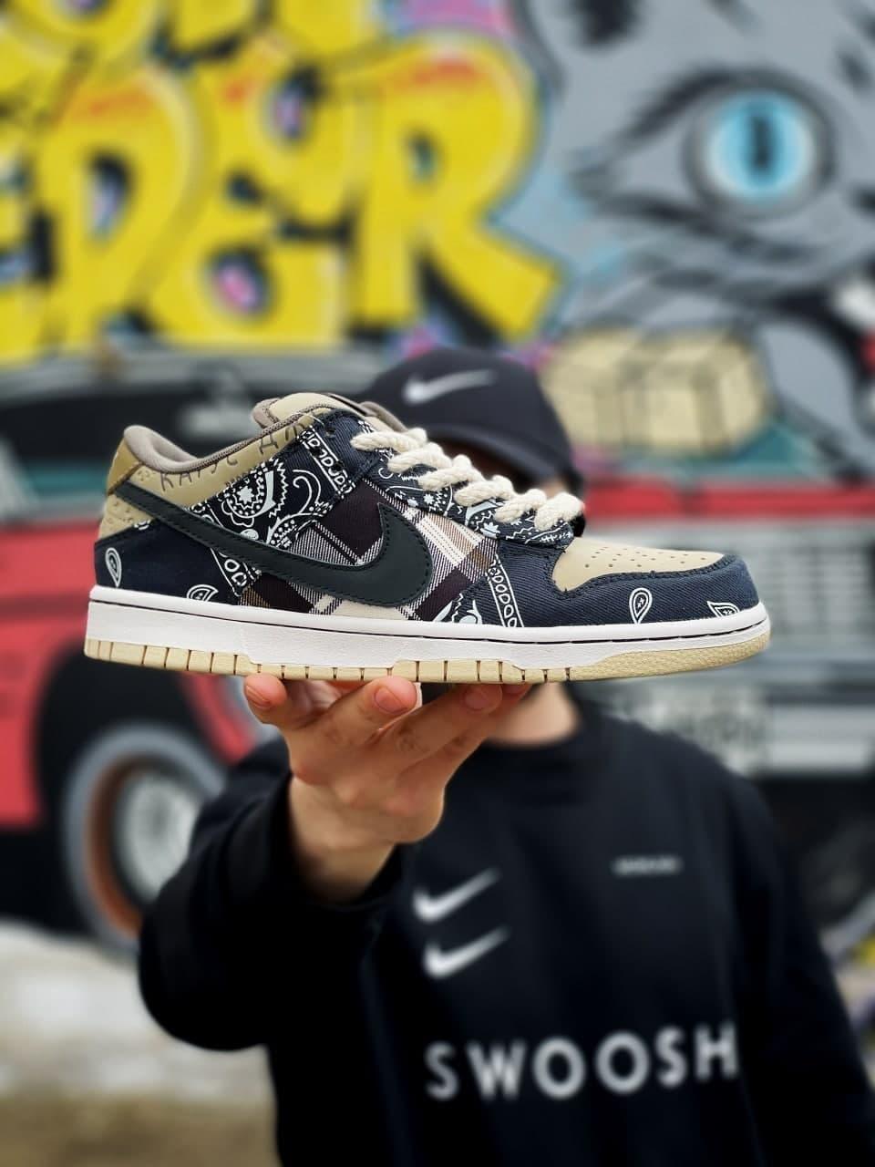 Женские кроссовки Nike SB Dunk low x Travis Scott cactus jack (черно-песочный) спортивная обувь J3246