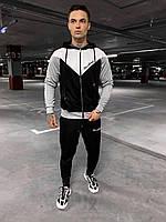 Мужской спортивный костюм (черно-белый с серым) sOc65 стильная одежда