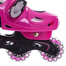 Детские раздвижные ролики (роликовые коньки) Zelart черно-фиолетовые Z-2920, 31-34, фото 3