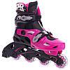 Детские раздвижные ролики (роликовые коньки) Zelart черно-фиолетовые Z-2920, 31-34, фото 4