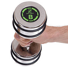 Хромированная гантель для фитнеса 8 кг цельная (1 шт) MODERN FI-2622-8, фото 3
