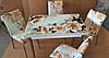 """Розкладний стіл обідній кухонний комплект стіл і стільці 3D малюнок 3д """"Бежева квітка"""" ДСП скло 70*110 Mobilgen 1302"""