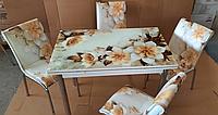 """Розкладний стіл обідній кухонний комплект стіл і стільці 3D малюнок 3д """"Бежева квітка"""" ДСП скло 70*110 Mobilgen 1302, фото 1"""