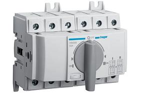 Выключатель напряжения (рубильник) поворотный Hager HIM308 I-0-II 80А 400/690В 3P 6м