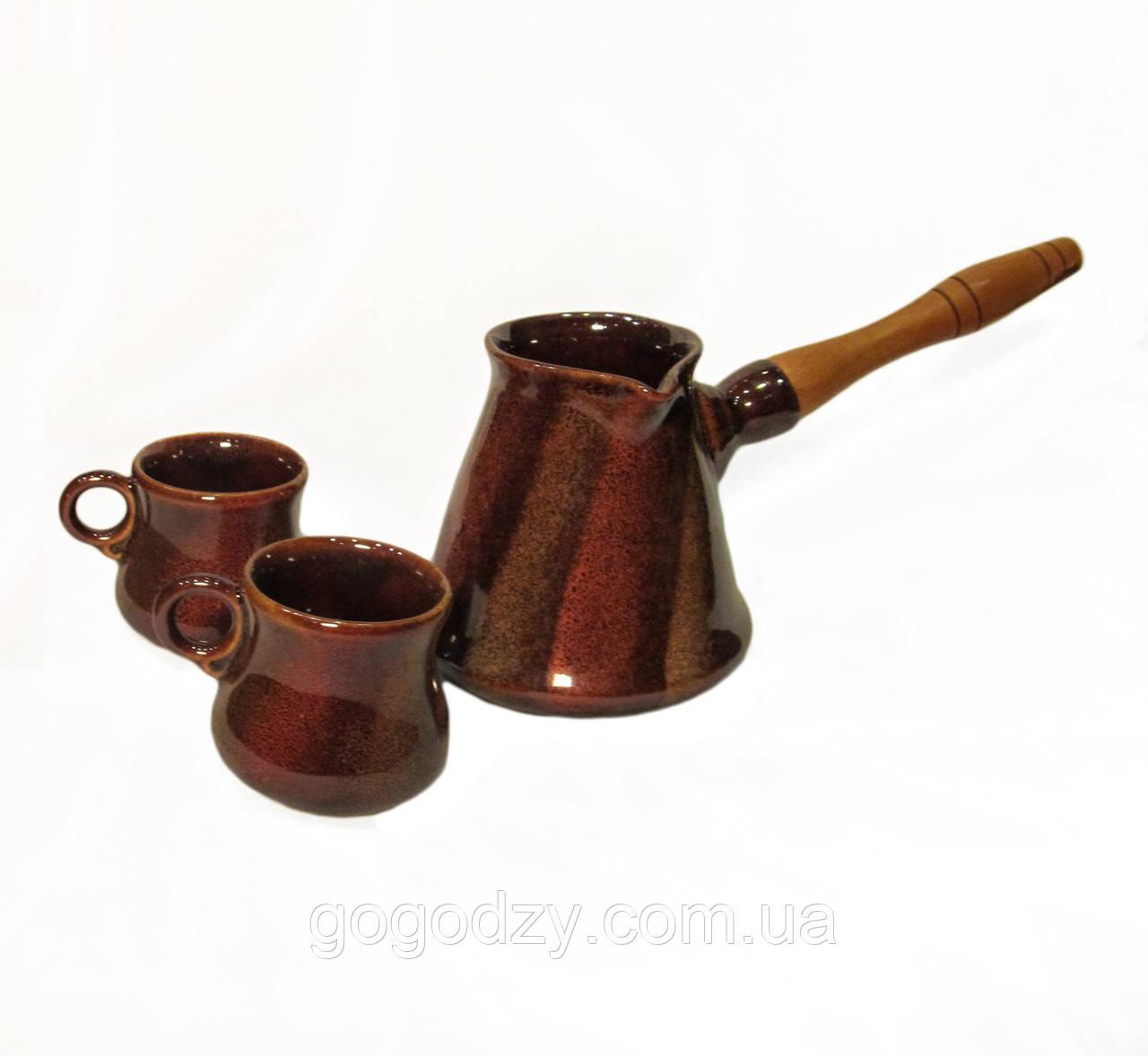 """Набір кавовий (турка 350 мл. з двома горнятками), декор """"дзиґа"""""""