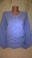Кофта Zara женская вязанная на пуговицах голубая