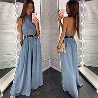 Женский вечерний комбинезон-платье с открытой спиной джинс