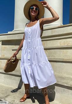 Сарафан жіночий білого кольору з гудзиками