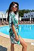 Коротка пляжна туніка-плаття з принтом з шифону, фото 8