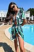 Коротка пляжна туніка-плаття з принтом з шифону, фото 2