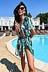 Коротка пляжна туніка-плаття з принтом з шифону, фото 7
