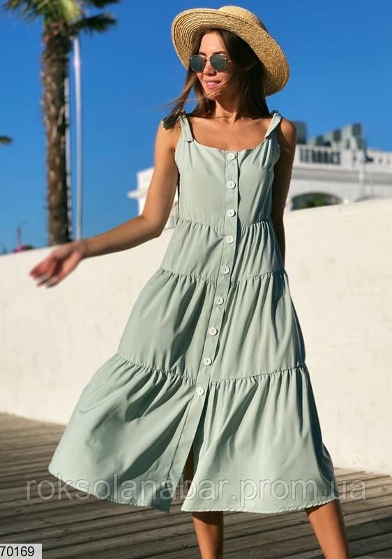 Сарафан жіночий кольору світлої оливки з гудзиками