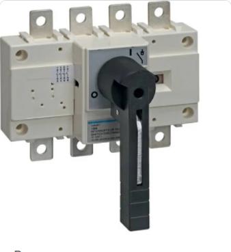Выключатель напряжения (рубильник) поворотный Hager HA454 4P 250А