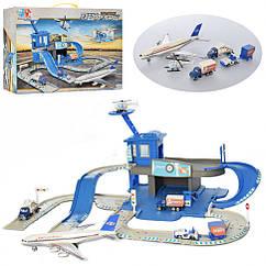 Ігровий набір паркінг XY602 аеропорт 2 поверхи, транспорт 7см(6-24см), дорожні знаки