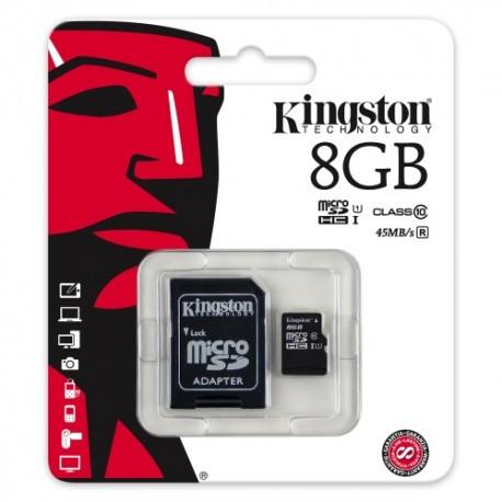 Карта пам'яті KINGSTON micro 8GB class 10 (c адаптером)