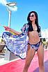 Короткая пляжная шифоновая накидка-халат с принтом, фото 8