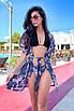 Короткая пляжная шифоновая накидка-халат с принтом, фото 3
