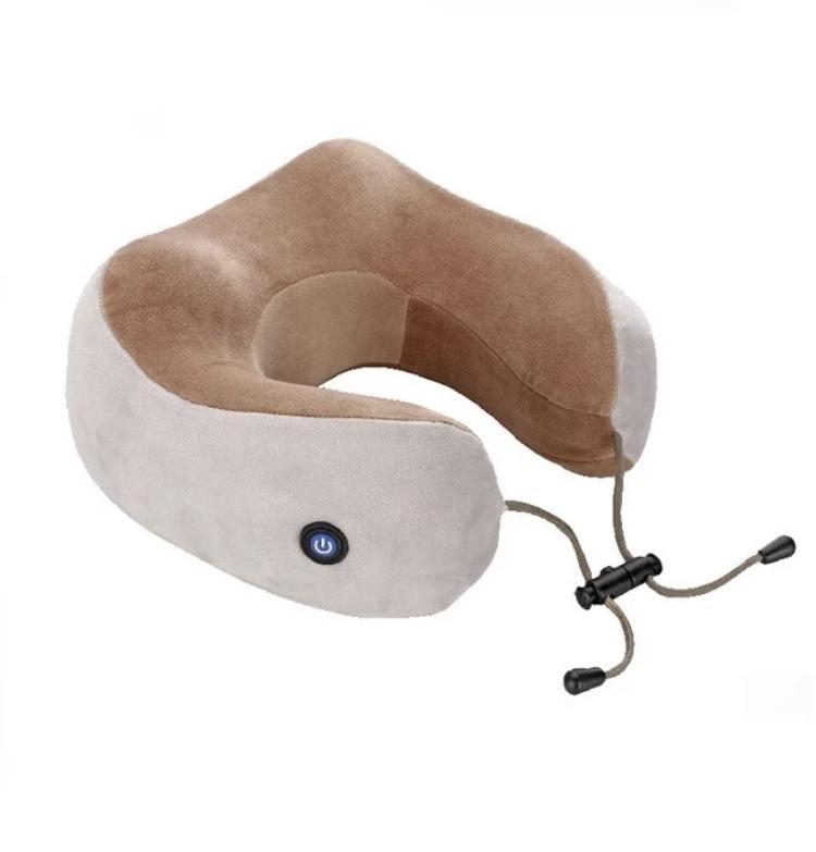 Дорожня подушка для шиї з масажем на батарейках U Shaped