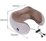 Дорожня подушка для шиї з масажем на батарейках U Shaped, фото 2