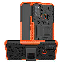 Чехол Fiji Protect для Realme 7 Pro противоударный бампер с подставкой оранжевый