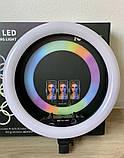 Світлодіодна кільцева лампа F133/1 RGB 45 см, фото 2