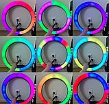 Світлодіодна кільцева лампа F133/1 RGB 45 см, фото 5