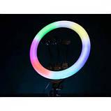 Світлодіодна кільцева лампа F133/1 RGB 45 см, фото 6