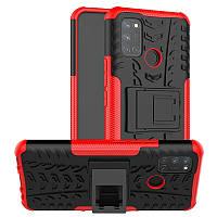 Чехол Fiji Protect для Realme 7 Pro противоударный бампер с подставкой красный