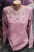 Кофта женская с оригинальным украшением из страз и бусинок