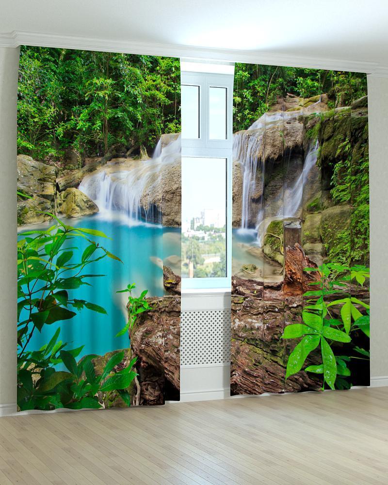 Фотошторы лазурный  водопад 3D