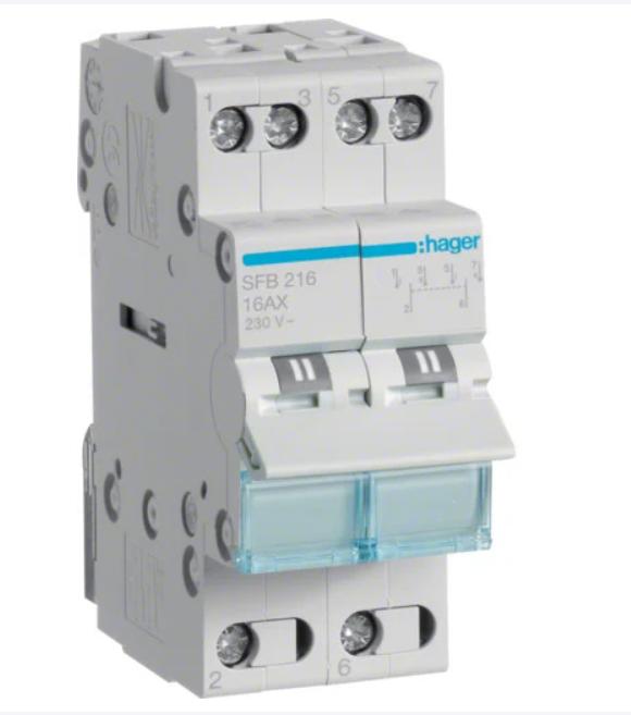 Модульный Переключатель однофазный Hager SFB225 I-0-II 2P 25А/230В 2м