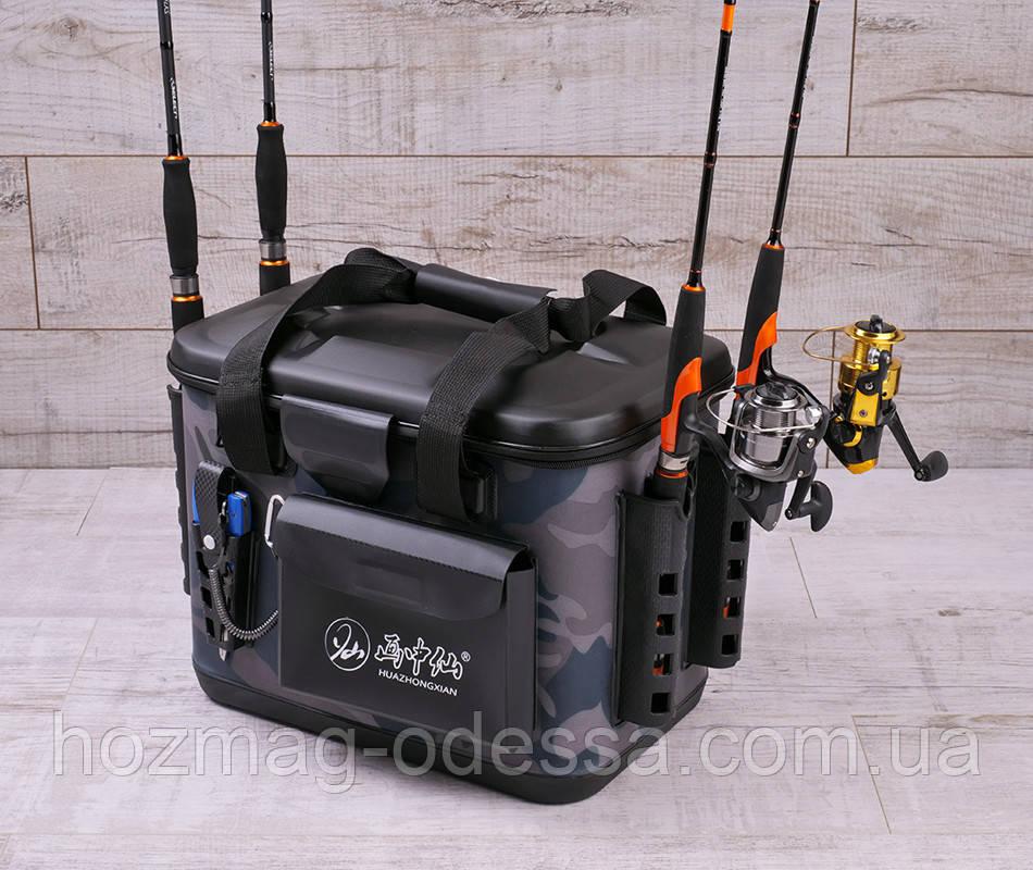 Сумка спінінгіста FanFish HLX-40 Army зі знімним лотком і тримачами для спінінга