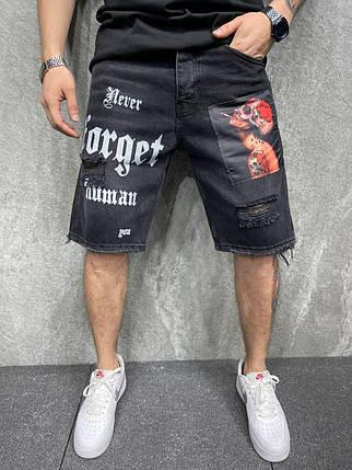 Чоловічі джинсові шорти чорного кольору з принтом, фото 2