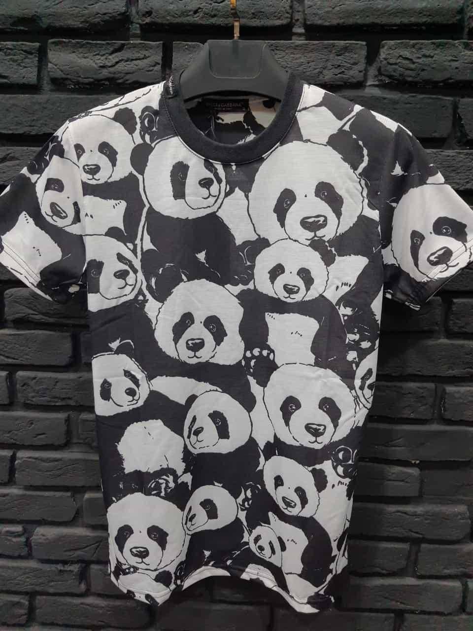 Мужская футболка черная с пандами