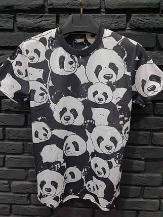 Мужская футболка черная с пандами, фото 2