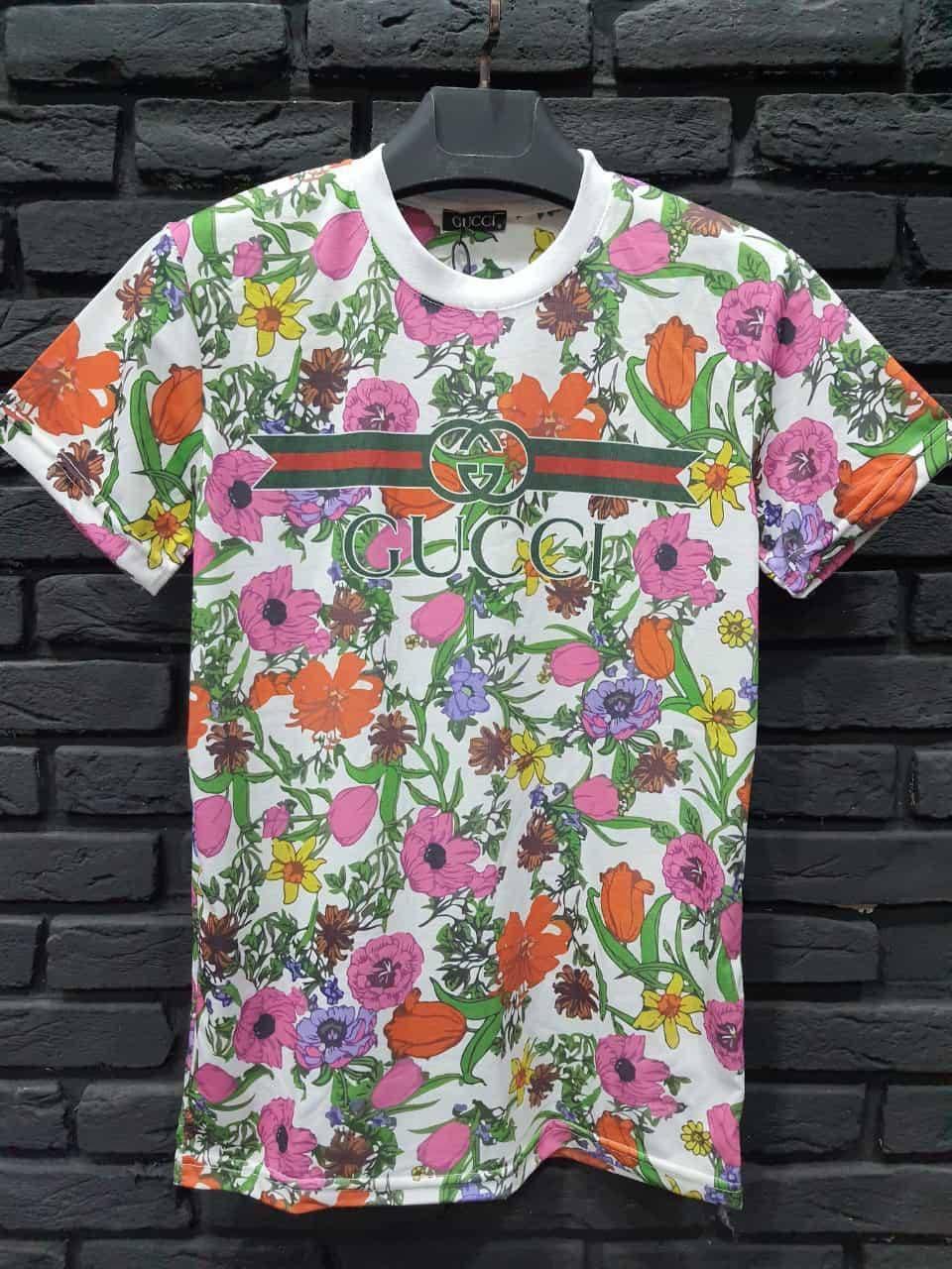 Мужская футболка Гуччи черная с цветами