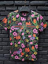 Мужская футболка Гуччи черная с цветами, фото 2