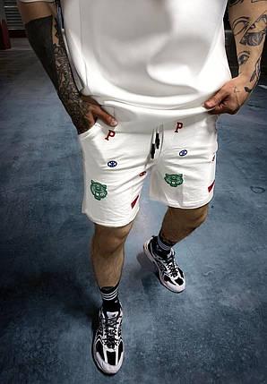 Чоловічі трикотажні шорти білого кольору з принтом, фото 2