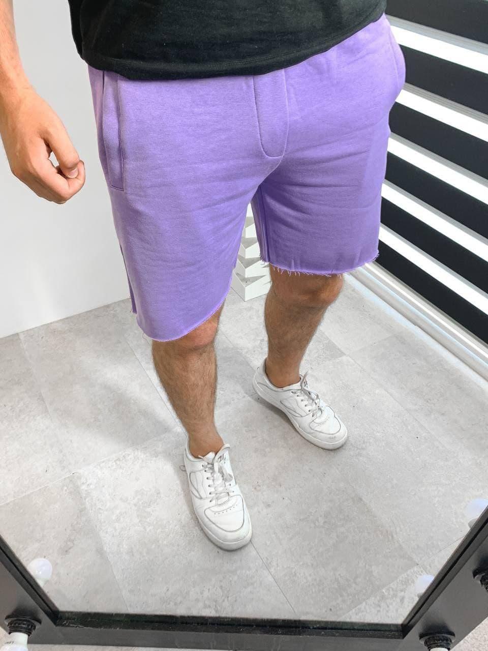 Мужские трикотажные шорты фиолетового цвета свободные