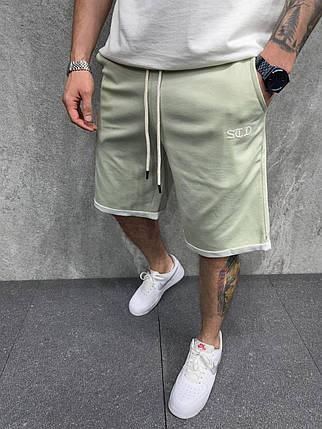 Чоловічі трикотажні шорти оливкового кольору, фото 2