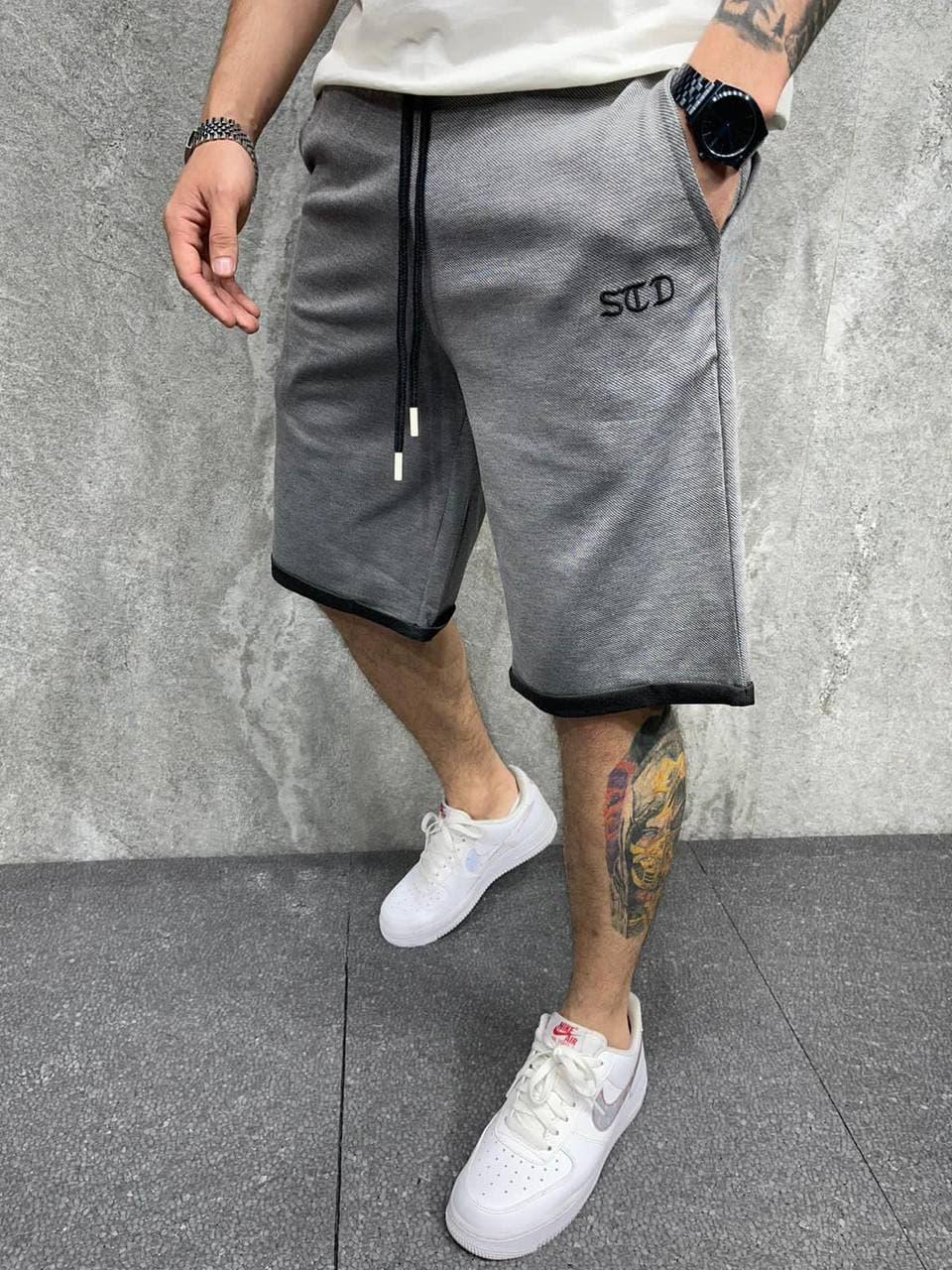 Чоловічі шорти трикотажні темно-сірого кольору