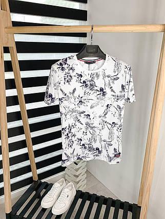 Мужская футболка-поло бело-черного цвета, фото 2