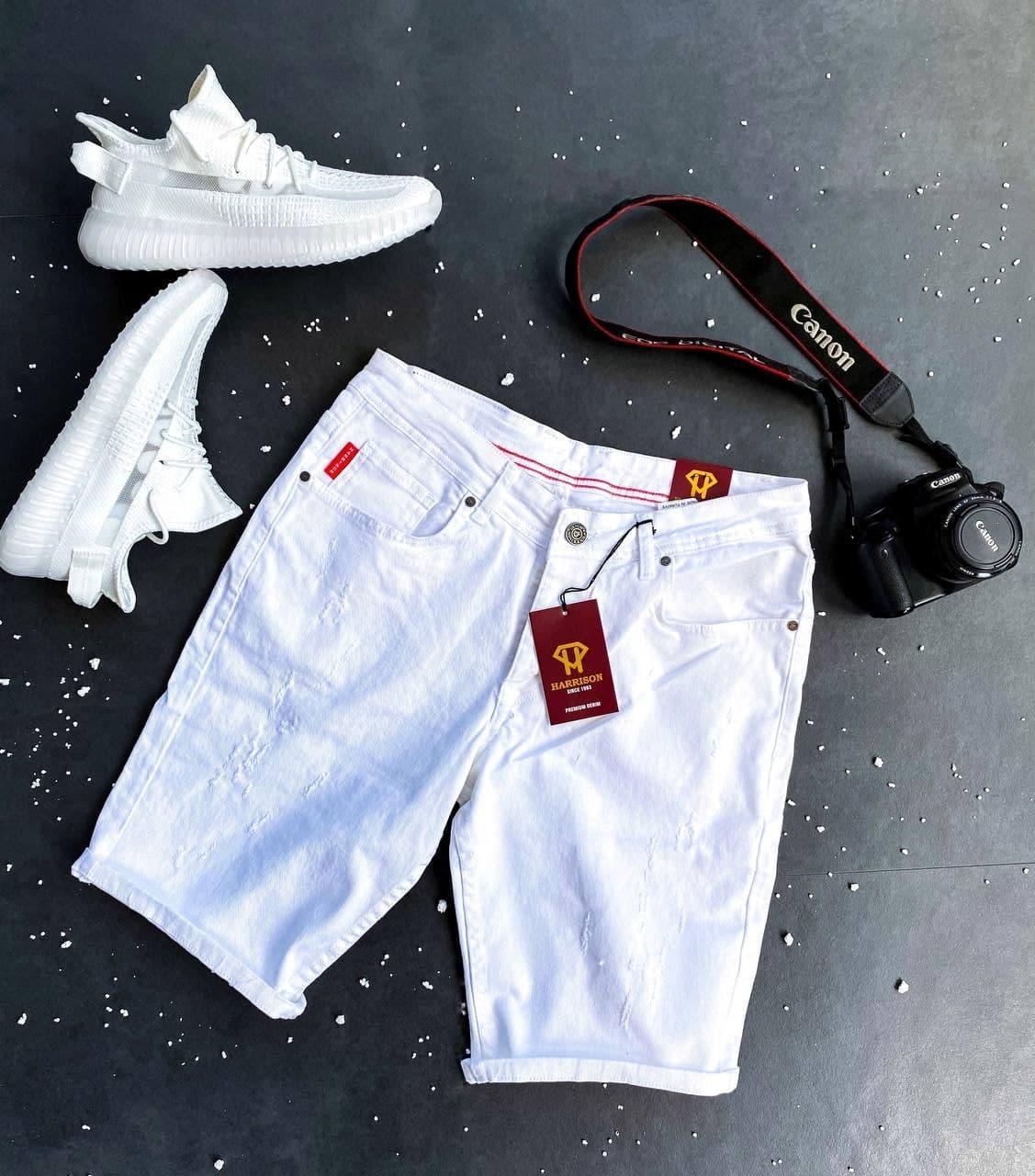 Чоловічі джинсові шорти білого кольору