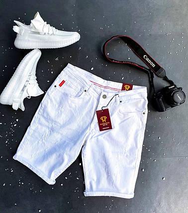 Чоловічі джинсові шорти білого кольору, фото 2