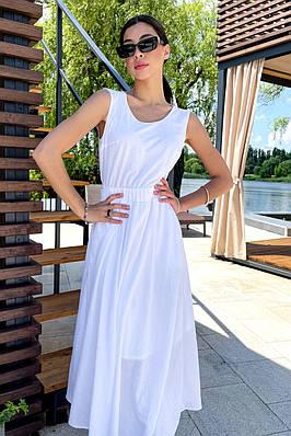 Довге літнє біле бавовняне плаття