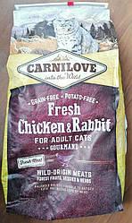 Сухой корм Carnilove Cat Fresh Chicken & Rabbit Gourmand для взрослых кошек,курица+кролик 6кг Порез 2 см