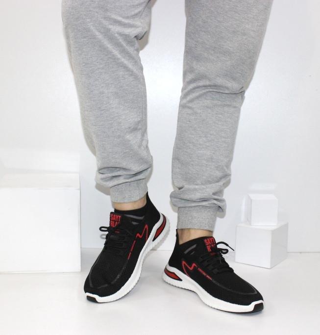 Чоловічі літні кросівки чорні на білій підошві