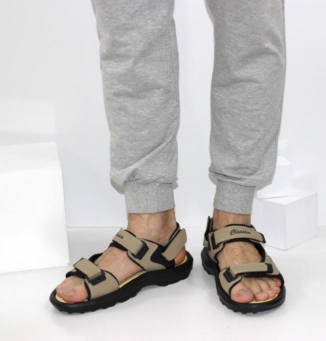 Мужские коричневые сандалии на липучках